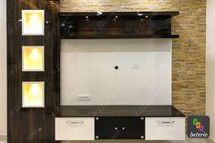 Design by Shwetha, Living Room, TV Unit, Stone Cladding Modern Tv Unit Designs, Modern Tv Wall Units, Living Room Tv Unit Designs, Living Room Partition Design, Room Partition Designs, Lcd Units, Tv Unit Furniture Design, Tv Cupboard, Tv Cabinet Design