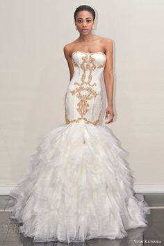 yumi katsura s2016 bridal strapless semi sweetheart neckline gold embroidery trumpet mermaid wedding dress with chapel train botan front view runway