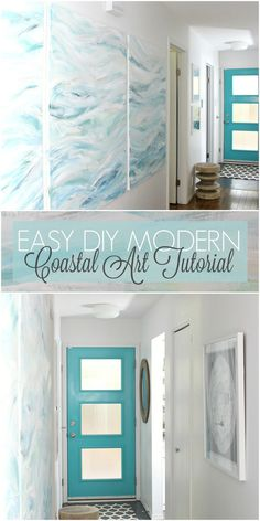 DIY Art Project Idea: Easy DIY Modern Coastal Art Tutorial - Bring the Beach and Waves Home! Add some coastal vibes to your decor and make your own diy wall art. Canvas Art Projects, Diy Art Projects, Diy Canvas Art, Simple Wall Art, Diy Wall Art, Wall Decor, Coastal Wall Art, Coastal Decor, Coastal Living