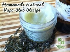 Homemade DIY all natural vapor rub made with essential oils to sooth and clear congestion.