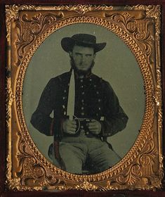"""Confederate 1/6th Plate Ambrotypes of Alabama Brothers housed together in Double Union Case. The sitter on the left had the foresight to scratch his name – M. Shuttleworth – into the field of his portrait. Professional research reveals him to be Morgan Shuttleworth, Co. """"H"""", 36th Alabama Infantry. (Continued in comments.)"""