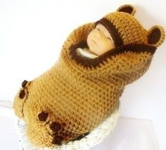 Free Crochet Baby Cocoon Set | PDF 140 Brown Bear Cocoon and Hat Set Crochet Pattern review at ...