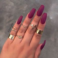 Long Burgundy Matte Nails