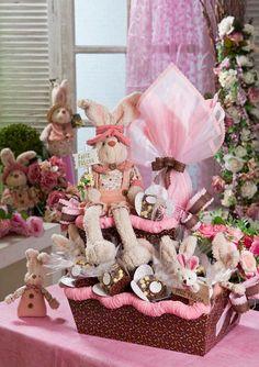 Cesta de Páscoa cor-de-rosa / passo-a-passo