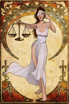 """In Roman mythology the goddess Astraea ruled over justice and law, holding the balance as her means to establish which situations required karmic intervention to restore fairness and equality. Justice Goddess Nouveau by phoenixnightmare Arte Libra, Libra Art, Zodiac Art, Libra Zodiac, Goddess Art, Goddess Tattoo, Chica Fantasy, Fantasy Art, Libra Images"