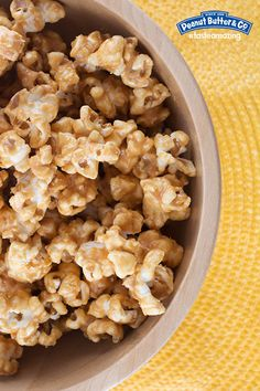 Peanut Butter Popcorn - Coat popcorn in a yummy peanut butter sauce for a great movie night snack! #tasteamazing