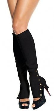 Black Steampunk Spat Legwarmers with brass snaps