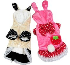 Woo Woo Pets Cute Strawberry Rabbit Jeans Skirt Pet Costume *** New and awesome cat product awaits you, Read it now  : Christmas Presents for Cats