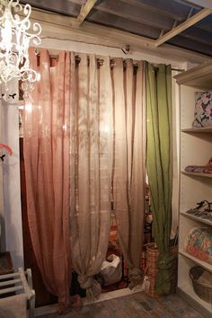 curtain divider tied on bottoms Laundry Room Curtains, Curtain Divider, Moroccan Design, Apt Ideas, Country Style Homes, Retro Home, Bohemian Decor, Apartment Therapy, Living Room Decor