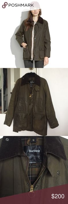 Barbour waxed jacket classic bedale in olive Barbour waxed jacket classic bedale in olive. Fits S/M. In good condition other than the underside of the sleeves that have two small holes at the seams (see picture). It's been well taken care of - I had it re-waxed about 2 years ago. Cleaning out my closet and hoping to sell asap! Open to offers! 😊 Barbour Jackets & Coats