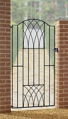 Verona Modern Tall Side Garden Gates 850 To 990mm Gap Wrought Iron Metal  Gate