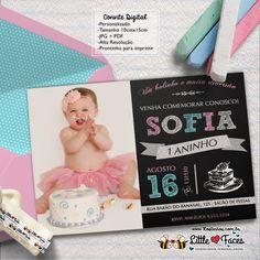 Convite Primeiro Aninho com Foto Chalkboard
