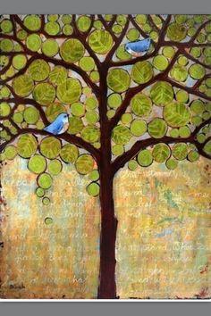 size: Art Print: Tree Print Birds Boughs in Leaf by Blenda Tyvoll : Entertainment Kunstjournal Inspiration, Art Journal Inspiration, Painting Inspiration, Art Texture, Bird Tree, Tree Tree, Tree Leaves, Tree Wall Art, Tree Print