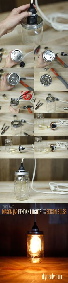 Lámpara con un tarro de vidrio DIY Mason Jar Crafts: How to make Edison Bulbs out of Mason Jars. Going to try this in my kitchen! Pot Mason Diy, Mason Jars, Mason Jar Crafts, Glass Jars, Mason Jar Pendant Light, Mason Jar Lighting, Pendant Lights, Diy Luminaire, Jar Lights