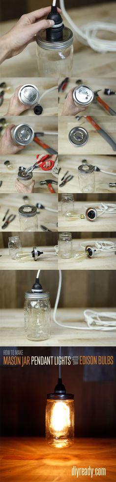 Lámpara con un tarro de vidrio | Muy Ingenioso