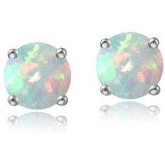Glitzy Rocks Sterling Silver 6mm Round Fiery Created White Opal Stud... ($13) ❤ liked on Polyvore featuring jewelry, earrings, white, butterfly earrings, white earrings, opal earrings, long stud earrings and sterling silver opal earrings