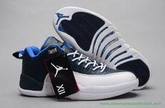 size 40 10615 1d7c1 Hommes Blanc Bleu AIR JORDAN 12 RETRO LOW