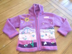 Size 4 5 6 OTAVALO girl  Purple Hand knit by LittleMarin on Etsy