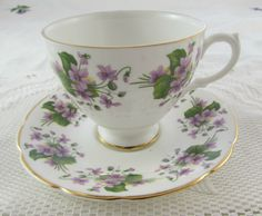 Bone China Tea Cup and Saucer with Purple Flowers, Made by Royal Imperial