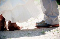 bride & groom in cowboy boots