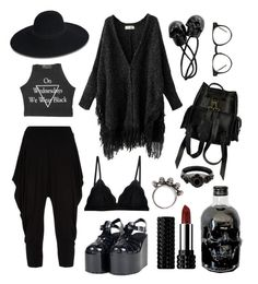 Casual Witch - skulls by bloodmoonsuccubus on Polyvore featuring Issey Miyake, Cosabella, UNIF, VIPARO, Gathering Eye, Maison Michel, Spitfire and Kat Von D