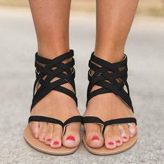 0db8456166c2 Sandals - Ladies Ankle Strap Flats Sandals(Buy 2