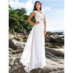 Sheath/Column V-neck Floor-length Chiffon Wedding Dress – USD $ 129.99