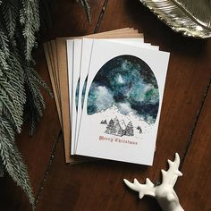 Starry Sky Christmas Card Set  Pack of 4