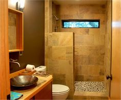 Shower for guest bath *just an idea for the half wall...no glass ...