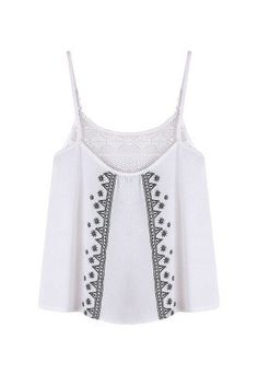 WHITE MESH PATCH EMBROIDERED CAMI TOP (http://www.yoins.com/White-Mesh-Patch-Embroidered-Cami-Top-p-992001.html?currency=GBP)
