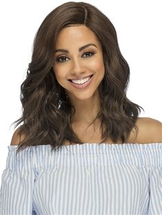 Elin Wig by Vivica Fox: Subtle beautiful wave everyday wear with swept bang. Vivica Fox, Styling Brush, Wig Stand, Color Ring, Synthetic Lace Front Wigs, Loose Curls, Long Curly, Hair Pieces, Bangs
