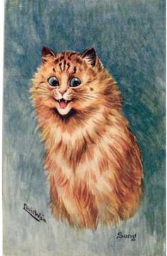 Song, United Kingdom, date unknown, by Louis Wain. Louis Wain Cats, English Artists, Vintage Cat, Illustration Art, Cat Illustrations, Cat Drawing, Cat Tattoo, Animal Drawings, Cat Art