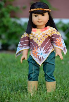 I love creating historically accurate doll clothes. Ivy and Julie are fun and easy to create for because it isn't too hard to make sure I am using an accurate design. The are recent enoug… American Doll Clothes, Ag Doll Clothes, Doll Clothes Patterns, Sewing Clothes, Doll Patterns, Clothing Patterns, Sewing Patterns, Poncho Outfit, American Girl Diy
