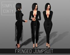 Simpliciaty: Fringed jumpsuit • Sims 4 Downloads