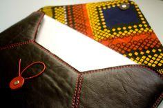 Black leather envelope macbook sleeve