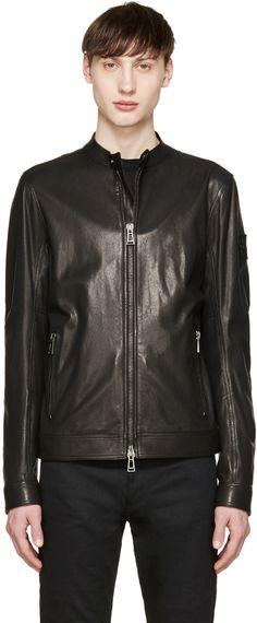 Belstaff: Black Leather Gransden Biker Jacket | SSENSE