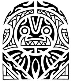 Maori and Polynesian tiki half sleeve tattoo