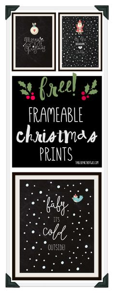 Super cute, fun and FREE Christmas frameable artwork! Three frameable prints, perfect for the holidays. Plus, you can use them as your phone wallpaper! Christmas Signs, Christmas Art, Christmas Projects, Winter Christmas, Christmas Decorations, Christmas Nativity, Christmas Fonts, Christmas Poster, Christmas Centerpieces