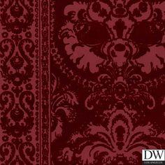 Victorian Flocked Velvet Wallpaper - Tone on Tone Burgundy : Designer Wallcoverings™ Her Wallpaper, Flock Wallpaper, Velvet Wallpaper, Framed Wallpaper, Luxury Wallpaper, Wallpaper Patterns, Kitchen Wallpaper, Damask Wallpaper, Custom Wallpaper