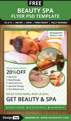 Beauty Spa Flyer Inspiration Graphic Design Pinterest Spa - Free spa brochure templates