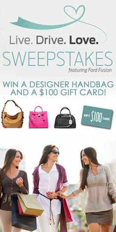 Get in to #Win a Designer #Handbag With Ford Fusion! #purse #shop #contest VALID UNTIL JAN 27