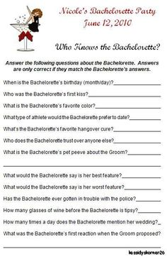 Personalized Bachelorette Party Game - Who Knows The Bachelorette on Etsy, $4.00