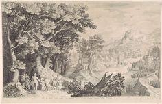 Nicolaes de Bruyn   Oordeel van Paris, Nicolaes de Bruyn, Pieter Schenk (I), 1600   Een landschap met op de voorgrond links het oordeel van Paris. Mercurius heeft Paris naar de goden gebracht om een schoonheidswedstrijd tussen godinnen te beslechten. Hij moet kiezen wie het mooiste is: Juno (met als attribuut de pauw), Minerva (in wapenrusting) of Venus (met naast haar Cupido). Paris kiest voor Venus en overhandigt haar als prijs een gouden appel. Op de achtergrond een dorp naar een rivier.
