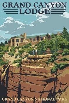 Grand Canyon National Park - Lodge View - Lantern Press Poster