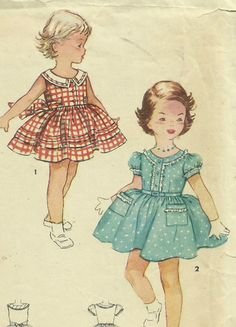 Vintage 1950's Spring Easter Dress Pattern Simplicity 4628 Girl's Size 6 Uncut | eBay