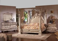 Mc Ferran B9097 5 Pc Princess Anne Ii Collection Antique White Wood Finish Queen 4 Poster Canopy Bedroom Set With Padded Headboard Marble Tops
