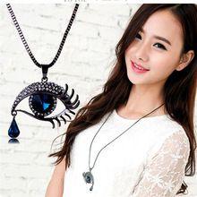 Brand New Crystal Blue Eyes Collares Maxi Steampunk collares Declaración de La Borla de La Vendimia Collar Largo(China (Mainland))