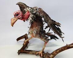 VULTURE PAPER Mache SCULPTURE, bird sculpture, wild thing, home desk shelf decor, animal sulpture, papier mache sculpture, bird figurine by LalkowniaPaperArt on Etsy