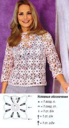 Maravillosa blusa-jersey hecha con la unión de motivos