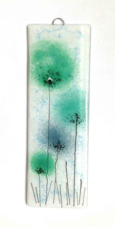 Fused Glass Wall Art Green Flower Panel by FiredCreationsGlass